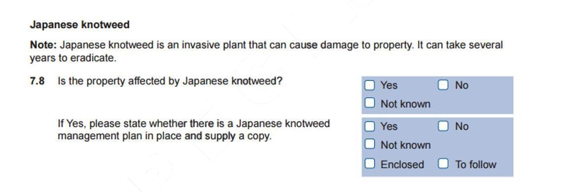 TA6 form - disclosure of Japanese knotweed